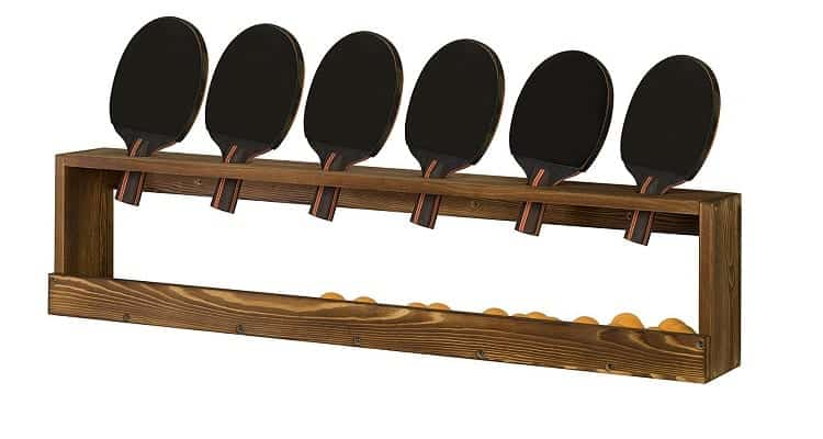 MyGift Rustic Wood Wall-Mounted Ping Pong Paddle Display Rack Review