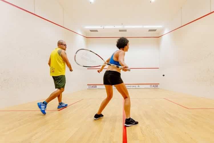 Couple Playing Squash